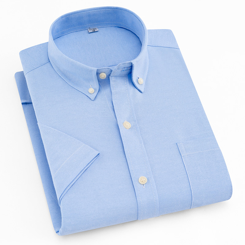 Short Sleeve Shirt Men 2018 Summer New Office Basic Style Men's Oxford Shirt Plus Size Solid White Blue Cotton Male Shirt Tops