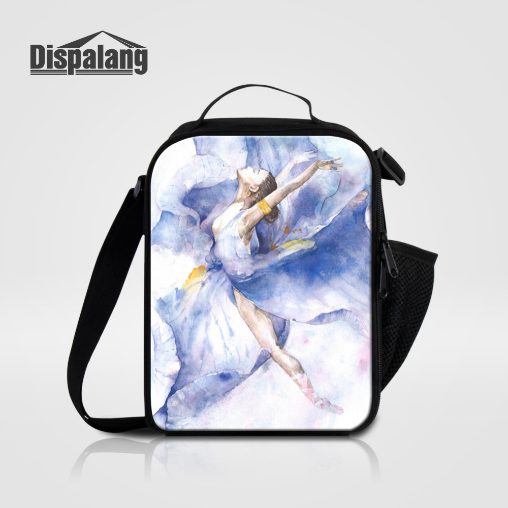 Dispalang Ballet Flower Girls Thermal Insulated Lunch Bag For Women Kids Lunchbags Tote With Zipper Cooler Lunch Box HandBag