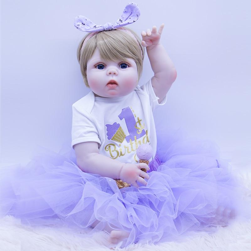 Smart And Lovely Princess Boneca Reborn 23inch Whole Silicone Vinyl Dolls Minifee 56cm Reborn Baby Doll Lifelike Bebe Reborn Lol