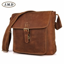 Cowboy Crazy Horse Leather Men's Brown Shoulder Messenger Bag  7111B