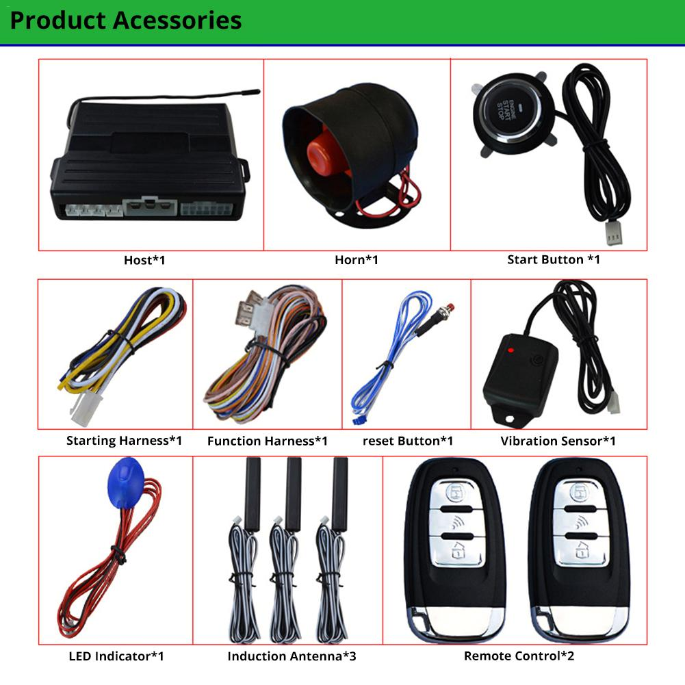 Image 2 - 1pcs Car Keyless One Button Start Remote Control System Auto Anti theft Alarm Remote Control System Automobile Car Accessorie-in Starter Parts from Automobiles & Motorcycles