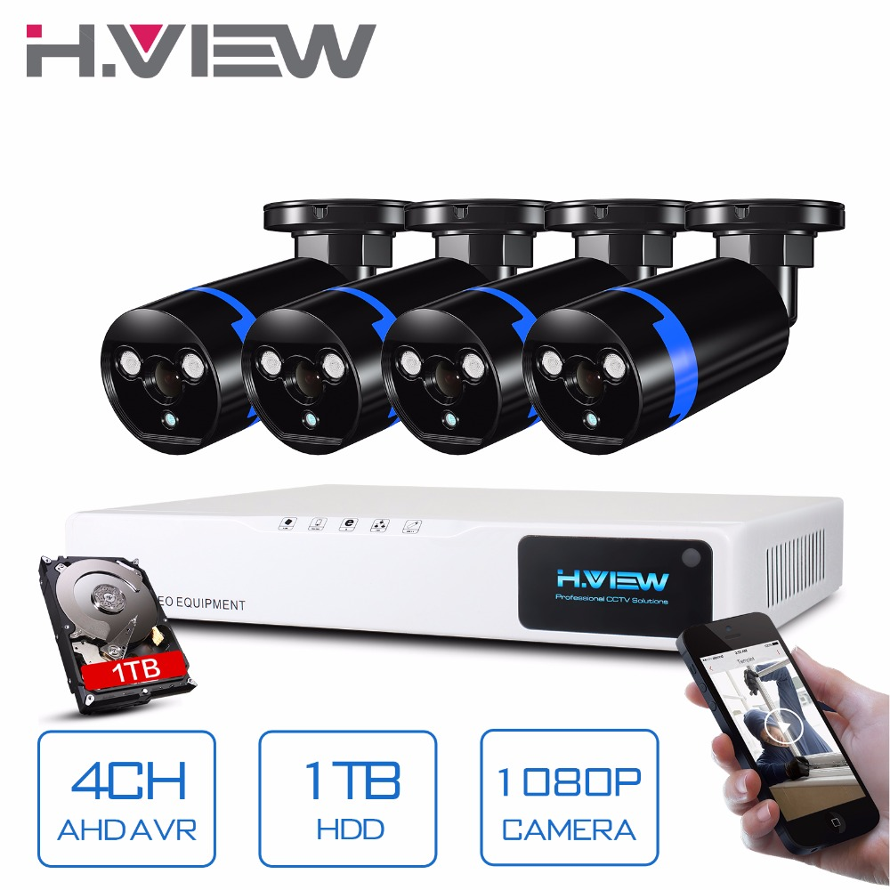 H View Security Camera System 4ch CCTV System DVR Security System 4CH 1TB 4 x 1080P