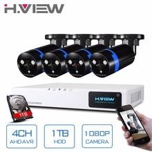 H. View Sicherheit Kamera-system 4-kanal CCTV-System DVR Sicherheitssystem 4CH 1 TB 4×1080 P Sicherheit Kamera 2.0mp Kamera DIY Kits