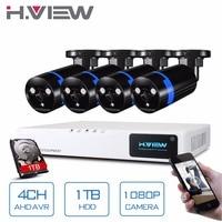 H. view 보안 카메라 시스템 4ch cctv 시스템 dvr 보안 시스템 4ch 1 테라바이트 4x1080 p 보안 카메라 2.0mp 카메라 diy 키트