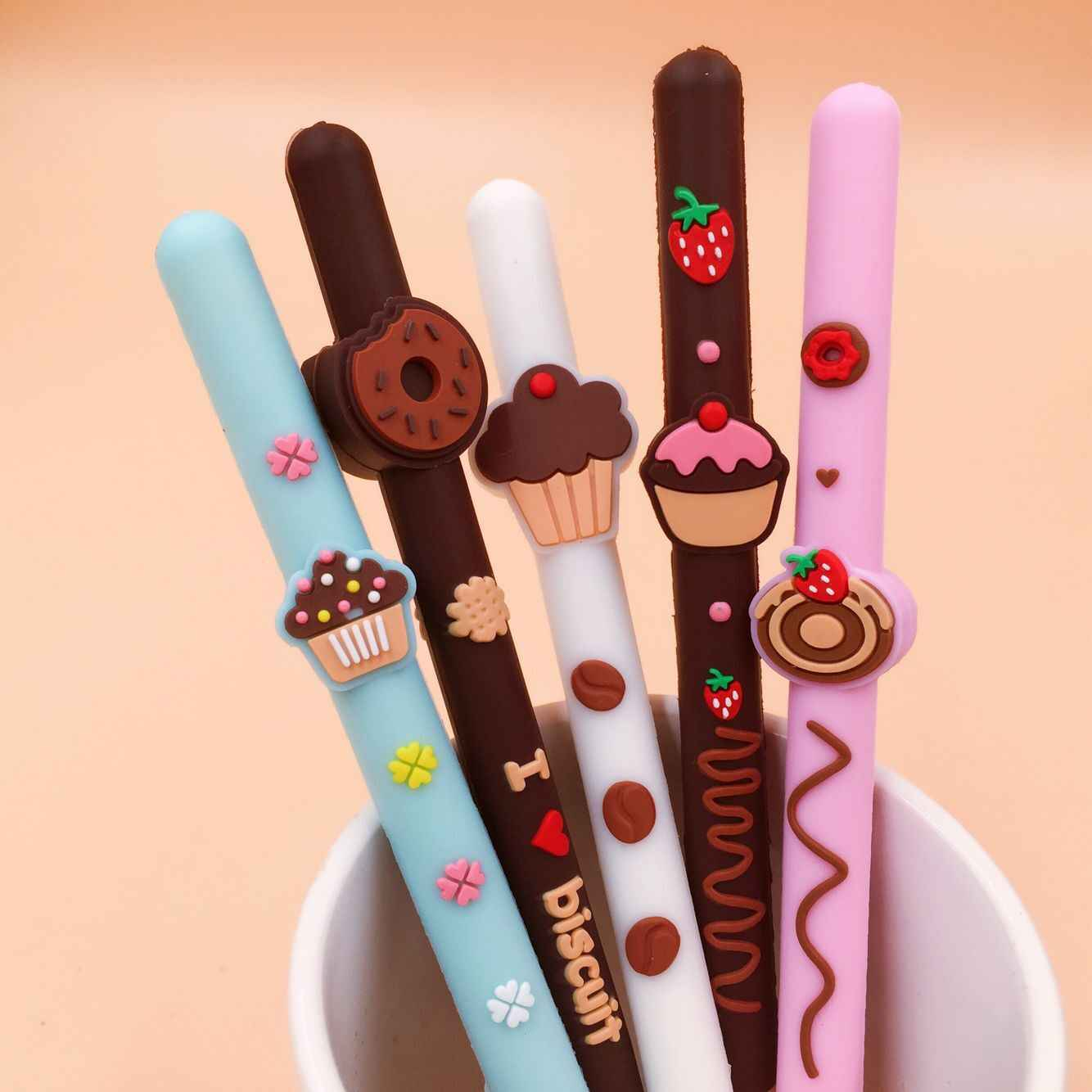 1 Piece Lytwtw's Korean Stationery Cute Biscuit Gel Pen School Office Kawaii Supply Handles Novelty  Gift Creative Choclate