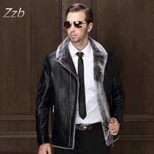 The New Winter 2016 Men's Fashion Personality Add Wool Warm High-Grade Men Fashion Leather Jacket Mens Leather Fur Coats Z6036