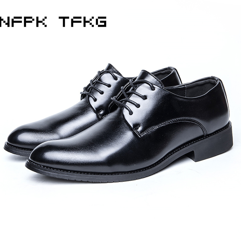 large size men fashion black business office work formal dress genuine leather shoes gentleman breathable flat oxford derby shoe