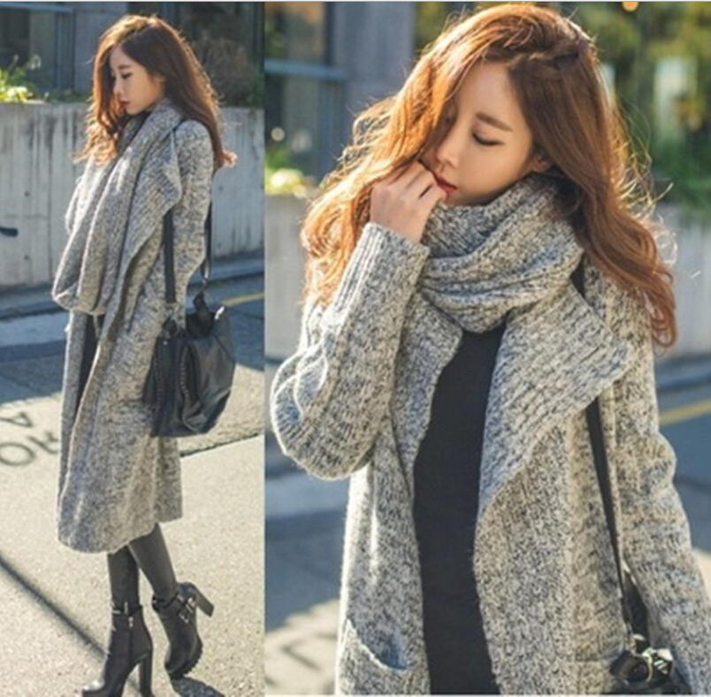 Dark Gray And light Gray Loose Lapel Thick Warm Winter Knitted Cardigan Women Long Sweater Coat With Scarf w-026 inc new gray women s size small ps petite open front ribbed cardigan sweater $79