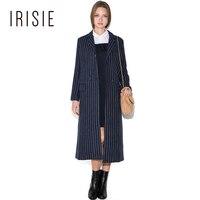 IRISIE Apparel Blue White Stripe Shawl Collar Longline Coat Vintage Color Block Female Trench Casual Loose