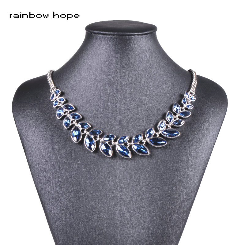 Женское Ожерелье с кристаллами оливковой ветки, ниспадающее ожерелье на шею, модные украшения, ожерелье для вечеринок