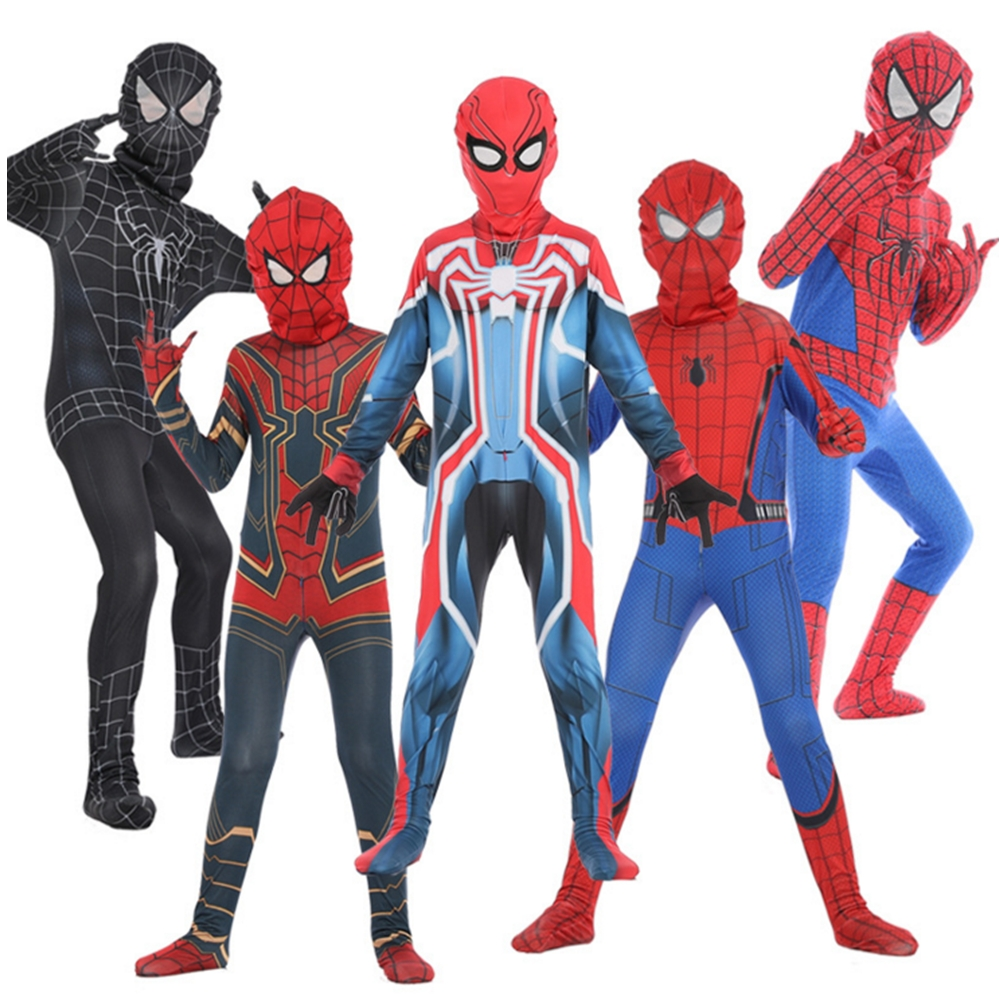 Boy Kids Spider-Man Into Spider-Verse Miles Morales Cosplay Costume Zentai Spiderman Iron-Spider Homecoming Velocity Jumpsuits