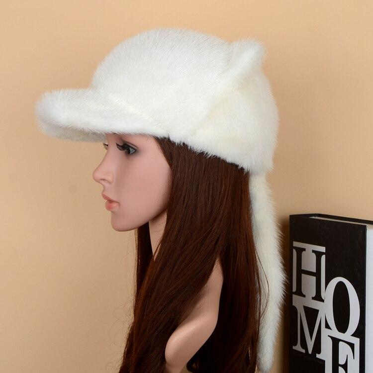 Корейская норковая меховая бейсболка с козырьком кошачьими ушками теплая зимняя Универсальная Женская норковая шапка