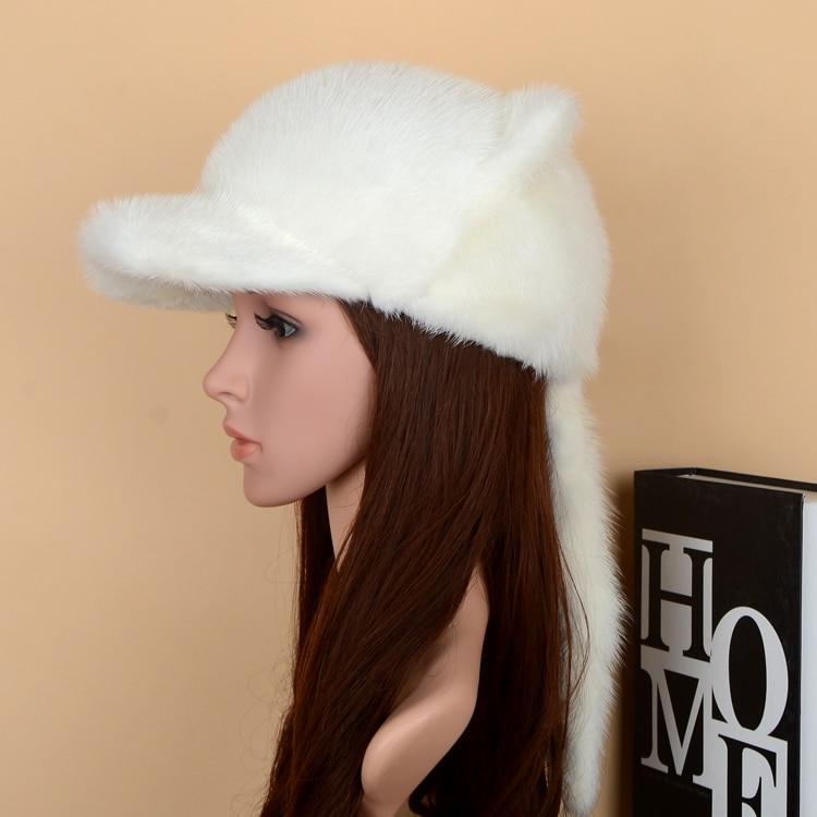 Из корейской норки мех норки действительно бейсболка с козырьком кошачьи уши теплые зимние универсальные женские норковые шапки