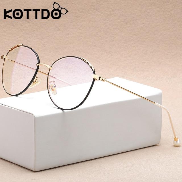Kottdo Novas Pérolas de Moda Espetáculo Armação de óculos Óculos Claros  Mulheres Rosto Redondo Retro Do 13478441de