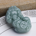 Natural green jade pixiu pendant lucky dance lovers of peace jade jewelry gifts ADS5608