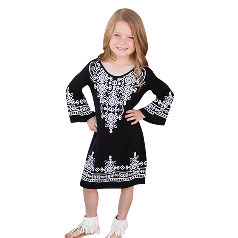 New 2018 Hot Selling Mommy and Me Baby Kid Girls Printed Sundress Flare Sleeve Dress Family Clothes For Dropship