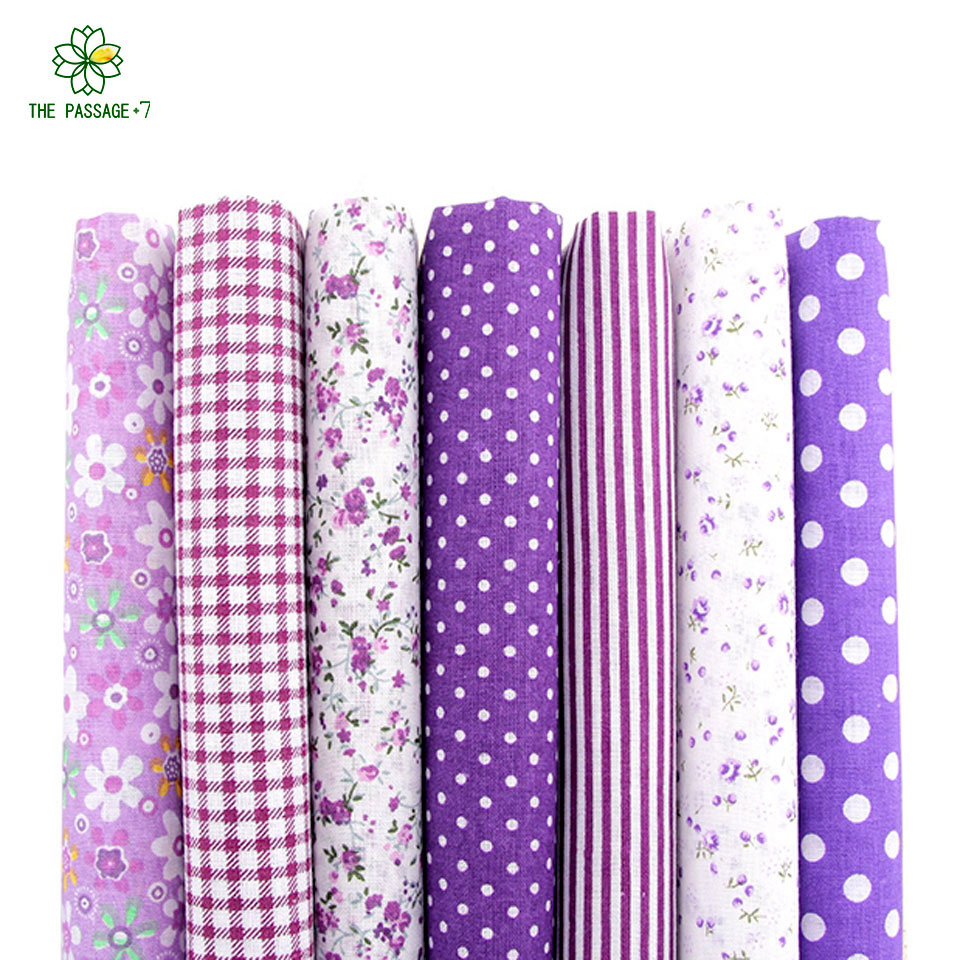Cotton fabric fabric no repeat design purple series patchwork fabric fat quarters bundle sewing for fabric 7pcs/lot 50x50cm A7-4