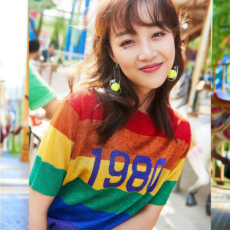 Femmes New Summer Harajuku Arc-En-Rayé 1980 Tricoté T-shirt