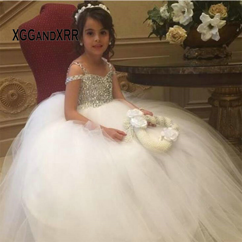 High Quality White Crystal Ball Gown Flower Girl Dresses 2019 Kids Birthday Dress For Wedding Party Little Bride Dress M1611