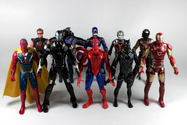 Captain America Civil War Avengers Iron Man Ant-Man Hawkeye Falcon Bucky Vision Spiderman War Machine PVC Action Figure KT2640 statue avengers captain america 3 civil war iron man tony stark 1 2 bust mk33 half length photo or portrait with led light w216