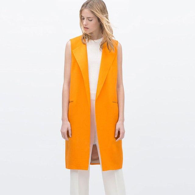 14191572200dd Women Long Vest Waistcoat Simple Design Orange Sleeveless Jacket Coat  Casual Outerwear Cardigans Vest Female Plus Size Clothing