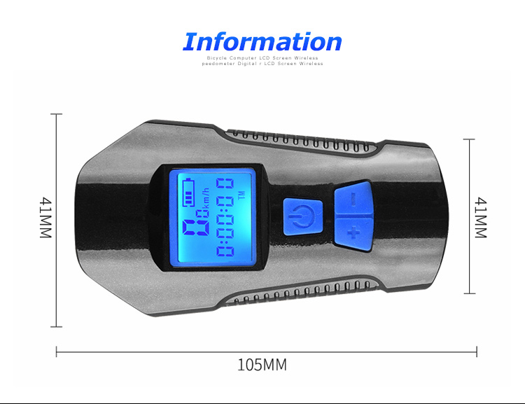 Waterproof Bicycle Front Light with USB Charging, Speed Meter and LCD Screen 24