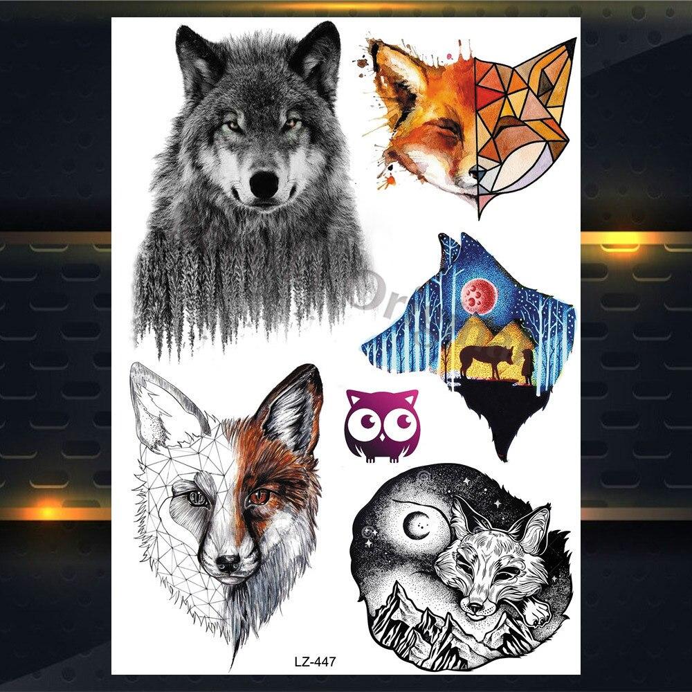 25 Estilos Nuevo Acuarela Tigre Zorro Lobo Tatuaje Temporal Para
