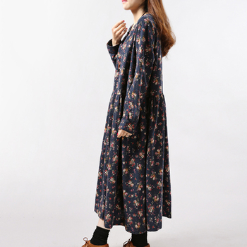2019 New Women Dresses Autumn Winter Vintage Print Casual Long Sleeve Retro Cotton Maxi Robe Tunic Floral Big Plus Size Dress 2