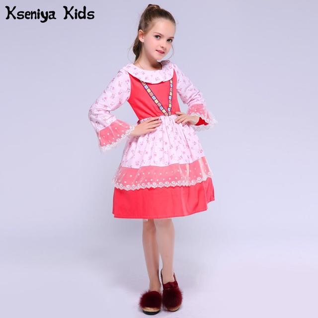 Kseniya Kids 2017 Cotton Spring Pink Red Cute Baby Girl Clothes Christmas Thanksgiving Flower Girls Lace Dress Boutique Clothing