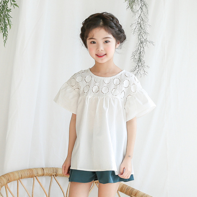 e4472c7570d cotton summer blouses for girls baby 2018 princess white blouse girl teenage  short sleeve tops school shirts children clothing