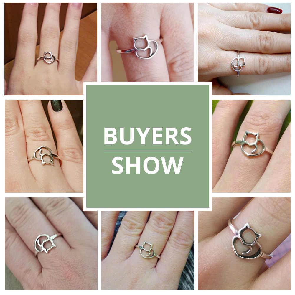 BAMOER, Настоящее серебро 100% 925 пробы, кольцо на палец в виде маленького кота и сердца для женщин, ювелирное изделие из стерлингового серебра, подарок SCR104