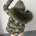 2016 Новый Женщины Зима Армия Зеленый Пиджак Пальто Толстые Парки Плюс размер Реального Енота Меховым Воротником С Капюшоном Пиджаки 5 День срок поставки