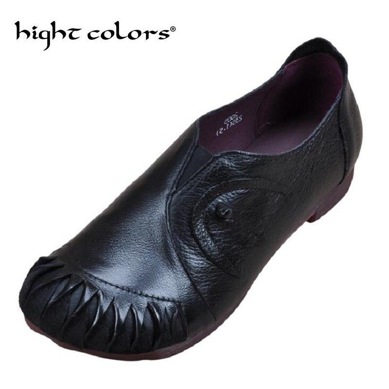 Chaussures brown De Véritable Rétro 2018 Plat Brun Noir Lady Dames Vache Cuir Casual Dropshipping Femme Black Fait Mode Ethnique Main shQCtrd