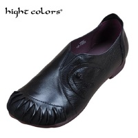 2018 Dropshipping Ladies Retro Hand Made Cow Genuine Leather Casual Woman Fashion Flat Shoes Ethnic Lady