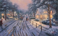 Free Shiping Thomas Kinkade Street In Snow Night Landscape Painting Reproduction Prints Canvas For Sale