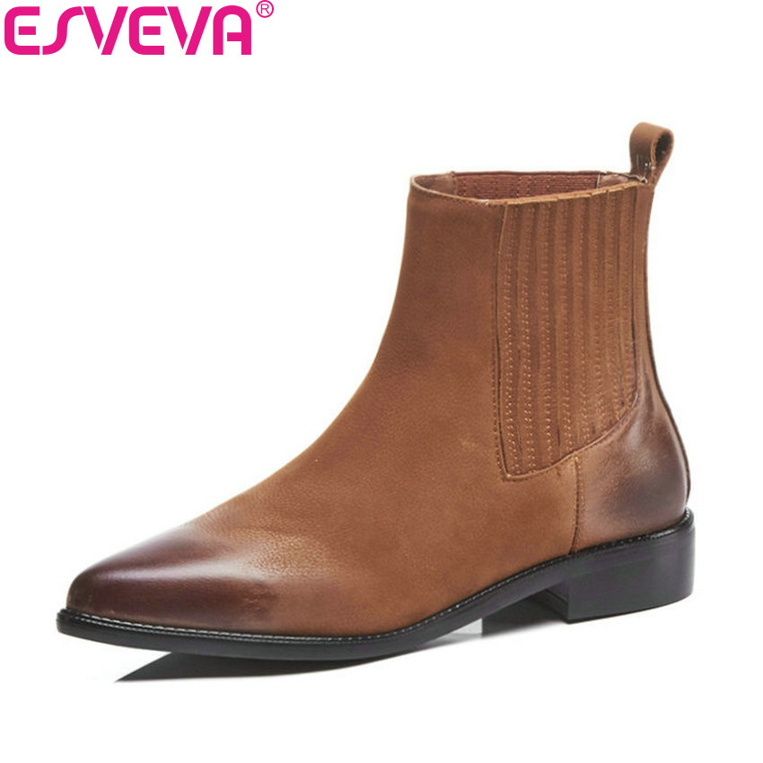 ESVEVA 2019 Women Shoes Low Heels Elastic Band Square Heels Pointed Toe Shoes Ankle Boots Slip on Fashion Woman Shoes Size 34-43 esveva 2018 women boots short plush pu lining elastic band pointed toe square high heels ankle boots ladies shoes size 34 39