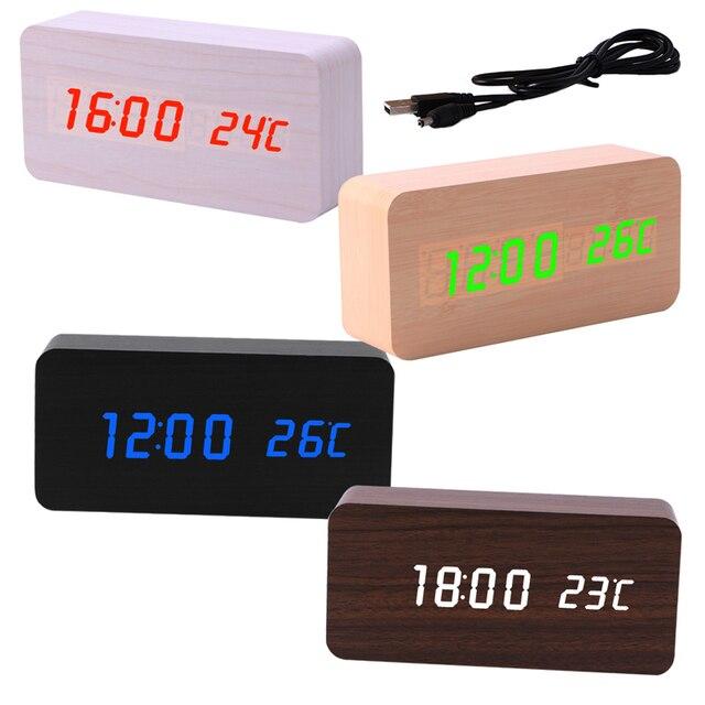 Электронная цифровая Деревянный LED Будильник звуки Управление Температура Desktop W30