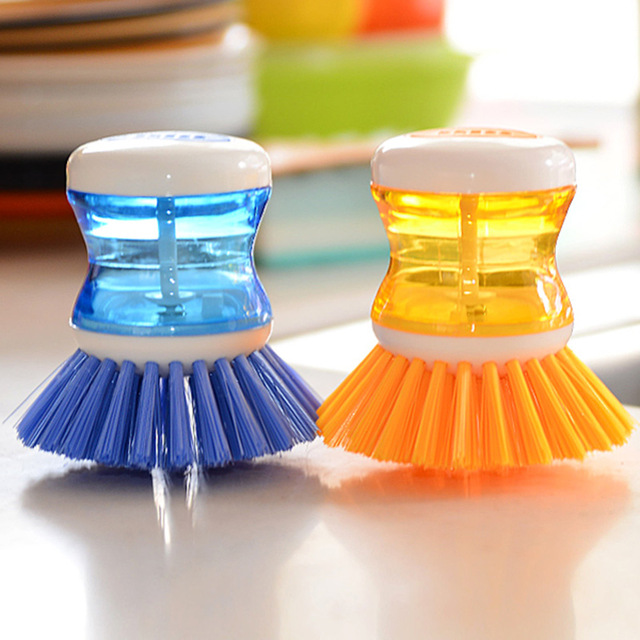 1pc New Plastic Hydraulic Washing pot Brush Cleaning Brushes Tableware Brush Household Cleaning Tools Kitchen Accessory