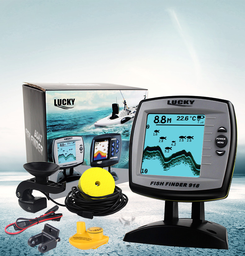 English Russian Menu LUCKY 2-in-1 Wired& Wireless Fishfinder 540ft/180m Depth Sounder Fish Detector Monitor FF918-180W lucky ff1108 1c portable 2 in 1 wireless