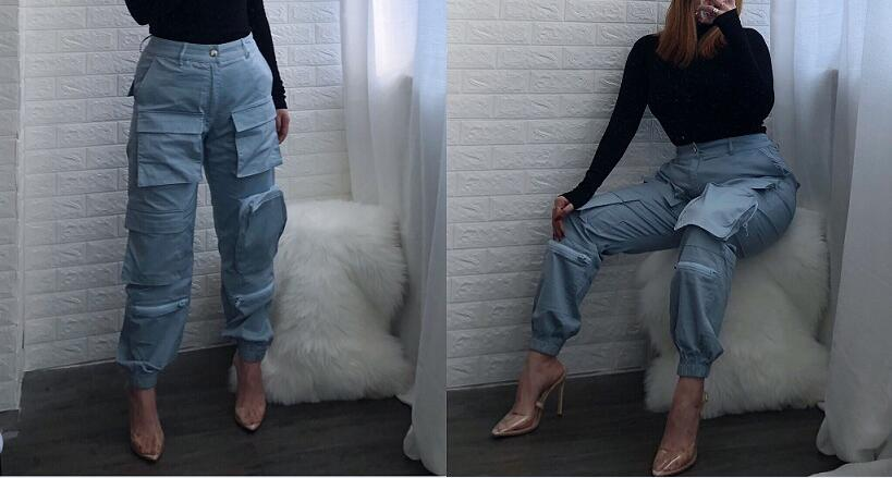 brown Streetwear Bolsillos dark Pantalones Mujeres De Casual Alta Mujer Joggers Multi Blue Sueltos 3 Blue Colores Cintura Harem Pantalon 5txnqaUa