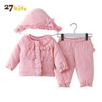 27Kids 3Pcs Baby Clothes Sets Winter Warm Suit Bebies New Brand Clothing Set Tops Pant Hat