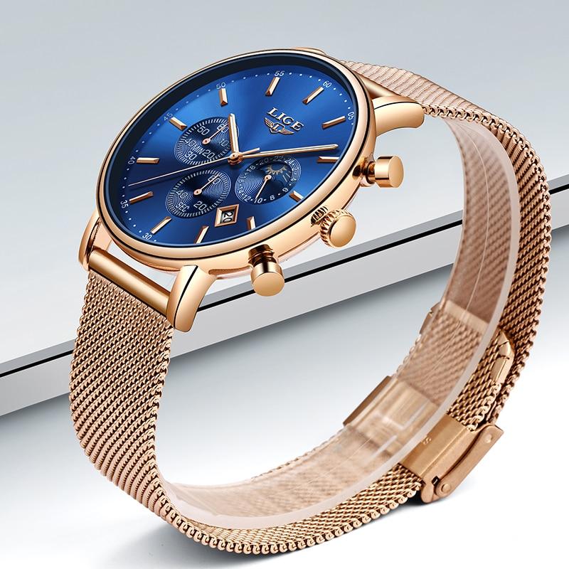 Image 3 - LIGE Women Fashion Gold Blue Quartz Watch Lady Mesh Watchband High Quality Casual Waterproof Wristwatch Moon Phase Clock Women-in Women's Watches from Watches