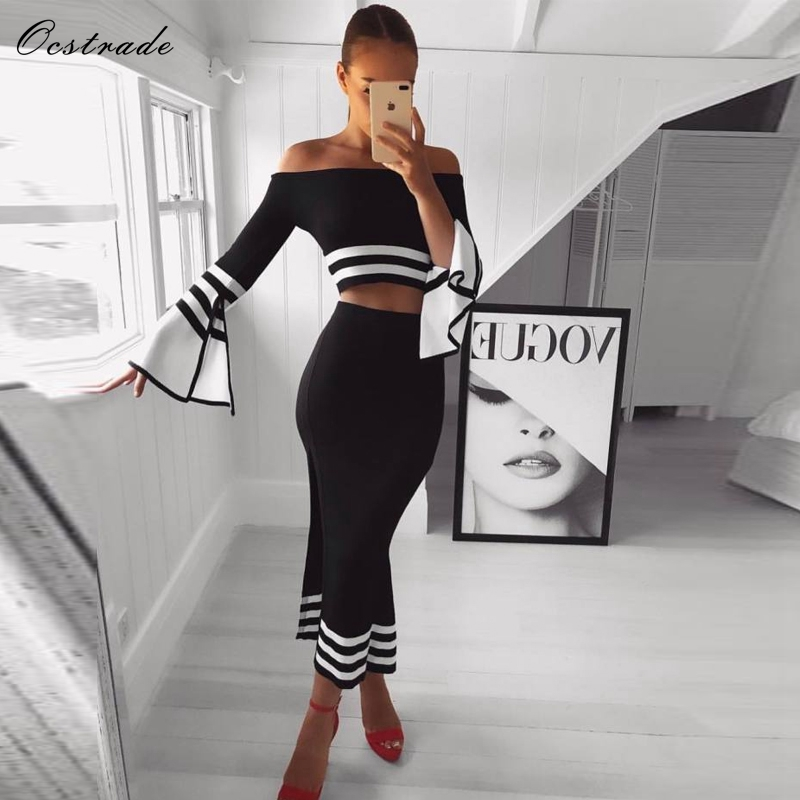 Ocstrade 2 Piece Bandage Dress 2019 Summer New Fashion Women Black and White Sexy Bodycon Two