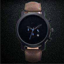 Réel OKtime Hommes Montre Jour Et Affichage de la Date Mâle Horloge Nouveau grand Cadran Blanc Lentille Noir Bracelet En Cuir Quartz Montre-Bracelet Vente Chaude