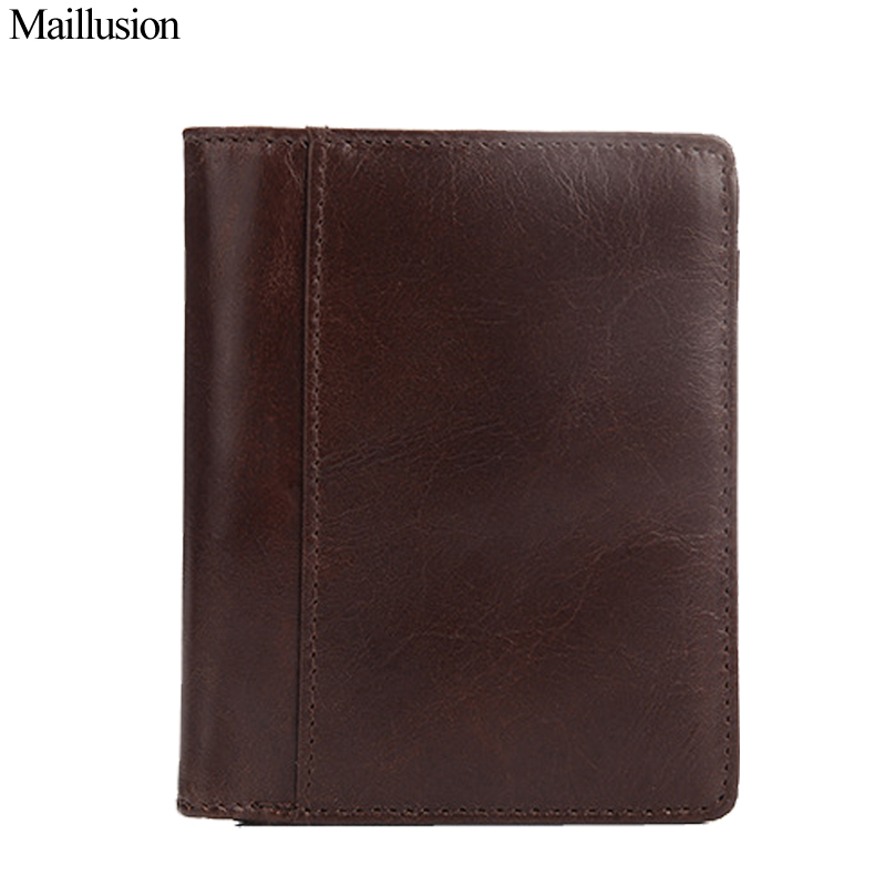 Maillusion Men Wallets  100% Top Quality Natural Genuine Leather Vintage Coin Purse Carteira Hasp Short Designer Male Clutch genuine crazy horse leather men wallet short coin purse card holder clutch vintage wallets brand high quality designer carteira