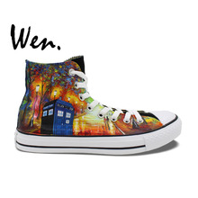 Wen Unisex Hand Painted Shoes Custom Design Doctor Who Farewell To Anger Tardis Men Women's High Top Canvas Shoes Gifts