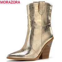 MORAZORA Size 34 46 New Brand ankle boots for women thick high heels ladies autumn winter boos gold silver fashion women boots