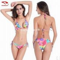 Womens Swimwear Two Piece 2016 Sexy Backless Europe And America Plus Size String Bikini Swimwear Free