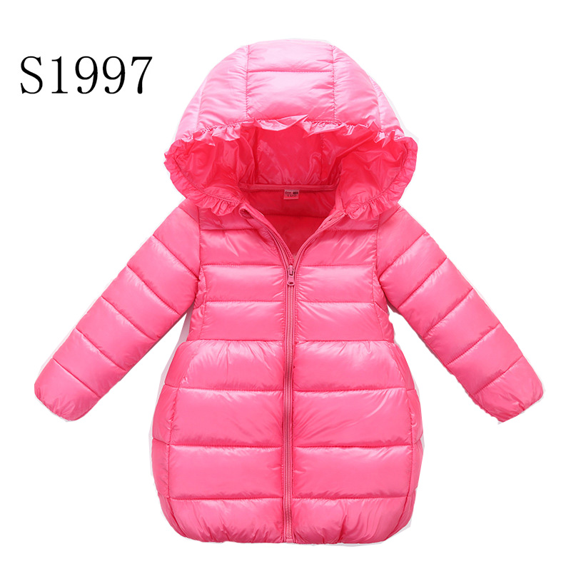 3-10T Children's Solid Outerwear Teenagers Winter Warm Hooded Coat Kids Down Boys Winter Feather Cotton Zipper Thickening Parkas