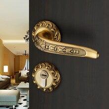 Европейский стиль, высокое качество, дверные замки для комнаты с двойной ручкой, замок с переключателем, внутреннее деревянное украшение, деревянные дверные замки, бронза